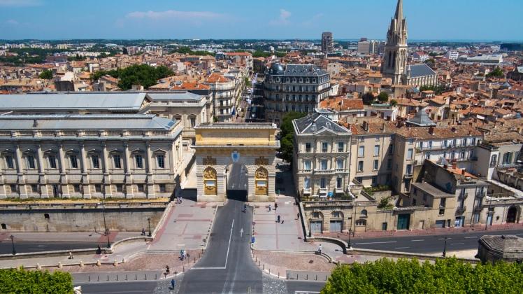 Vue aérienne du centre historique de Montpellier